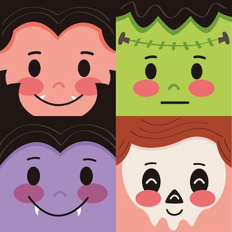 Groep masker halloween kostuum pictogrammen