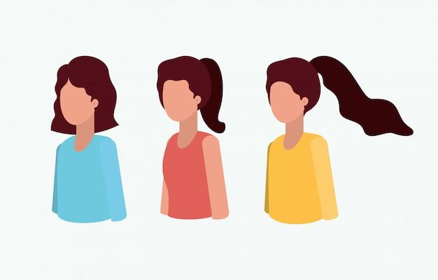Groep meisjes avatars tekens