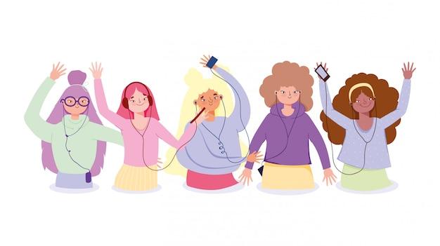 Groep meisjes luisteren muziek met smartphone via oortelefoons illustratie