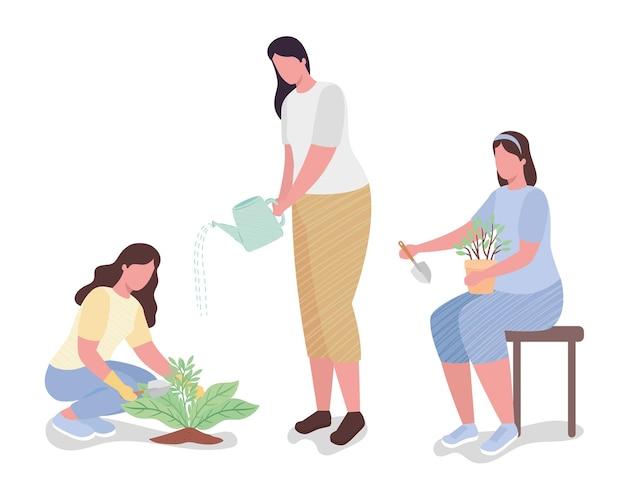 Groep meisjes met de illustratie van tuingereedschapkarakters