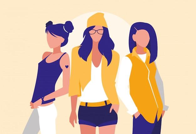 Groep meisjes professionele modellen personages