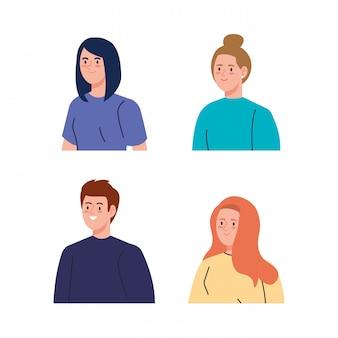 Groep mensen avatar karakters