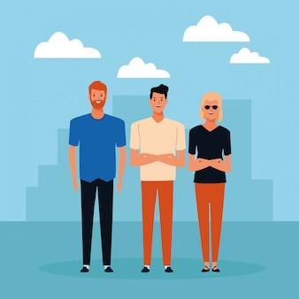 Groep mensen avatar stripfiguur