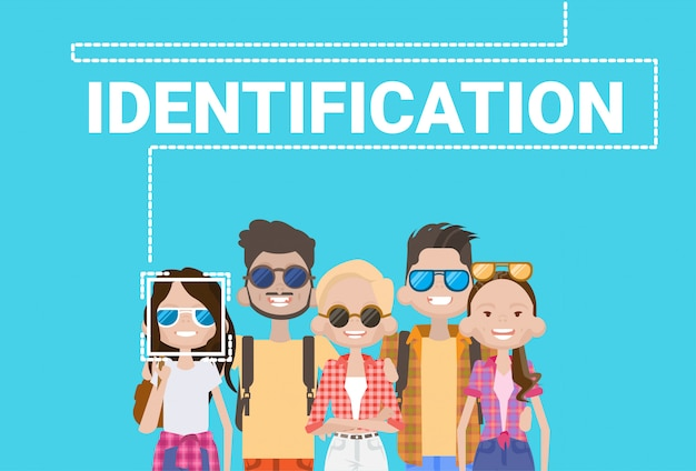 Groep mensen biometrische identificatie face scanning system moderne toegangscontrole technologie
