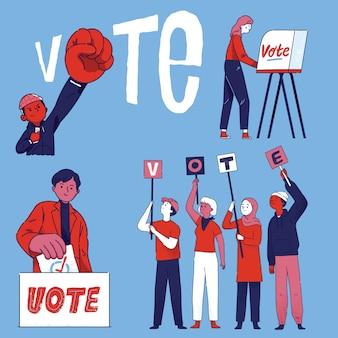 Groep mensen burgers stemmen bij verkiezingen