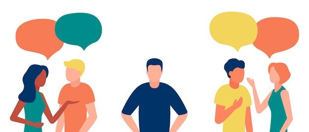 Groep mensen communiceert, negeert de introverte man, outcast. eenzaamheid, onwetendheid, discriminatie, onverschilligheid voor teamgenoot.