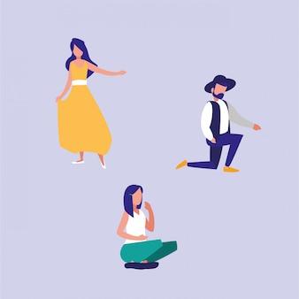 Groep mensen dansen en zittende avatar karakter