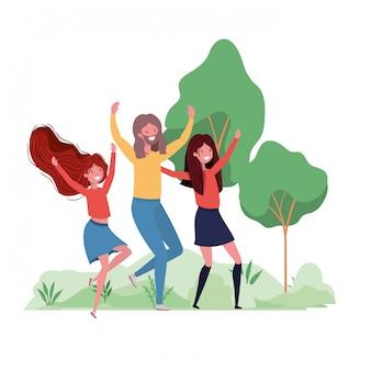 Groep mensen dansen in landschap met bomen en planten