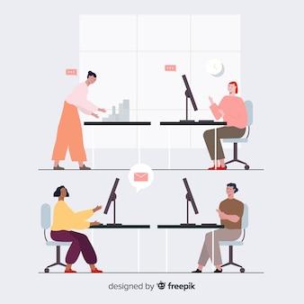 Groep mensen die aan hun bureau werken