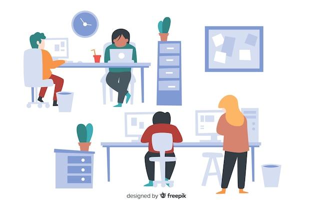 Groep mensen die aan hun geïllustreerde bureaus werken