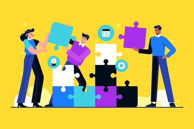 Groep mensen die als team samenwerken