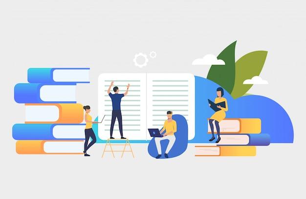 Groep mensen die boeken maken