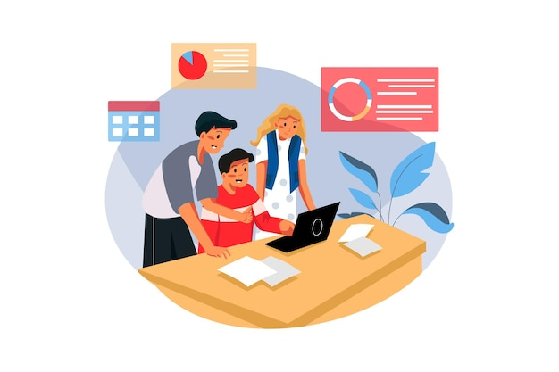 Groep mensen die businessplan op kantoor uitwerken