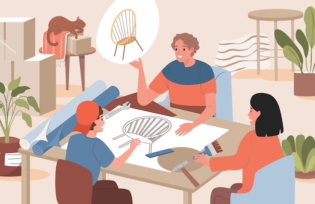 Groep mensen die de illustratie van het meubilairontwerp bespreken
