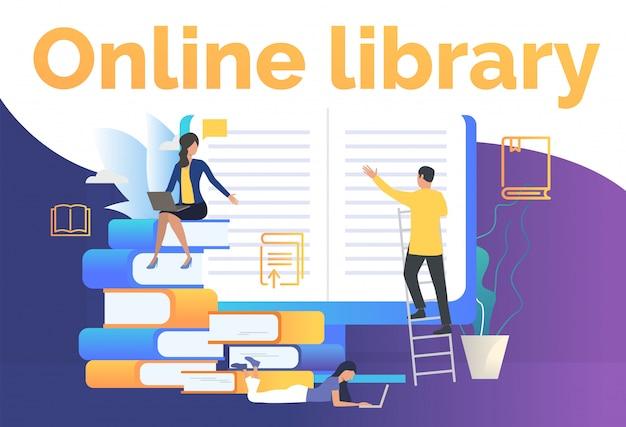 Groep mensen die elektronische boekenwebpagina lezen