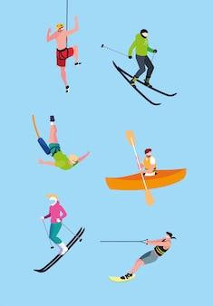 Groep mensen die extreme sporten uitoefenen