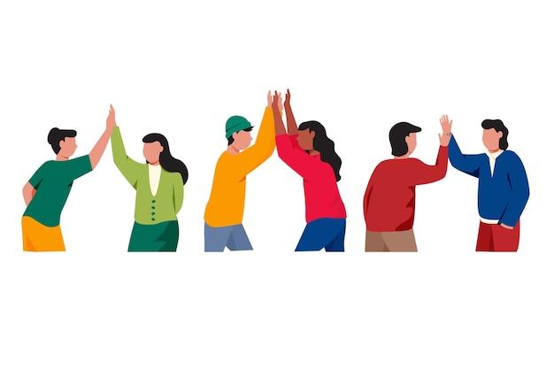 Groep mensen die geïllustreerde hoogte vijf geven
