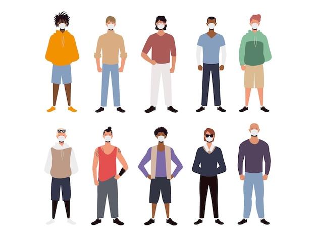 Groep mensen die gezichtsmaskers dragen, coronavirus covid 19 beschermingsillustratie