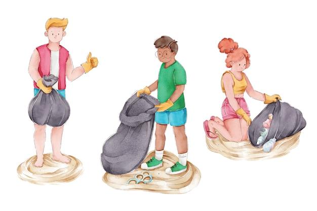 Groep mensen die het strand schoonmaken