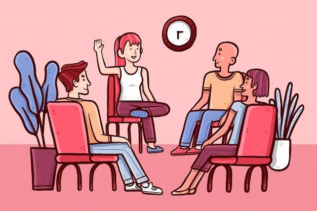 Groep mensen die hun problemen bespreken