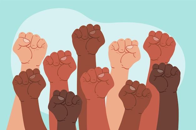 Groep mensen die hun vuisten tegenhouden