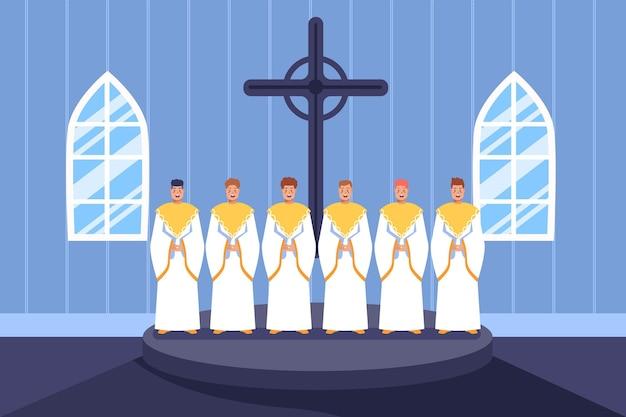 Groep mensen die in een geïllustreerd gospelkoor zingen