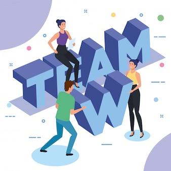 Groep mensen die in team werken