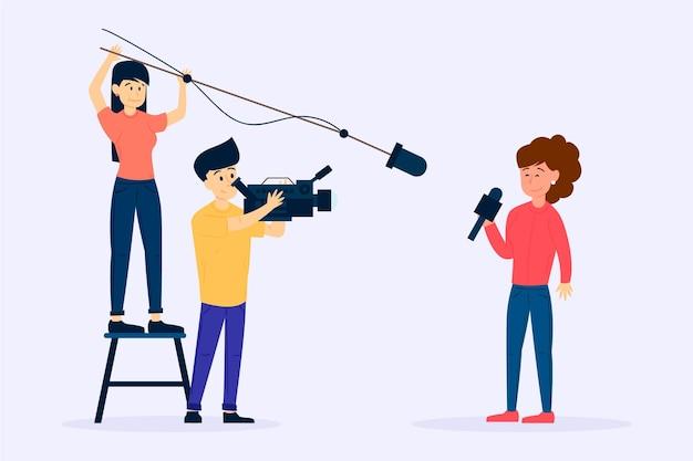 Groep mensen die journalistiek doen