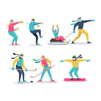 Groep mensen die leuke winteractiviteiten doen