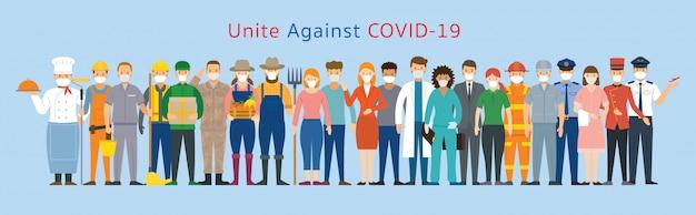 Groep mensen die multinationaal gezichtsmasker dragen, verenigd om covid-19, coronavirusziekte te voorkomen