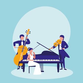 Groep mensen die muzikale instrumenten spelen