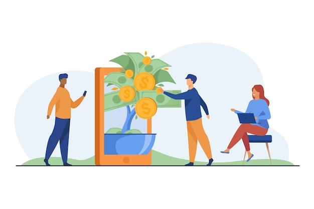 Groep mensen die online investeren en winst krijgen