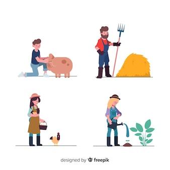 Groep mensen die op de boerderij werken
