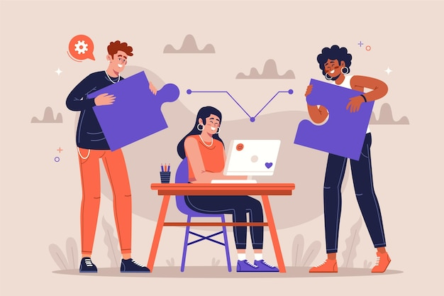 Groep mensen die samenwerken