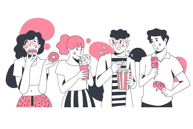 Groep mensen die snacks eten