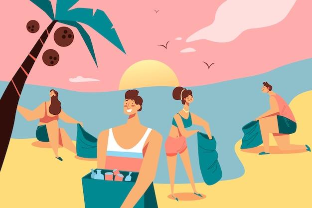 Groep mensen die strandconcept schoonmaken