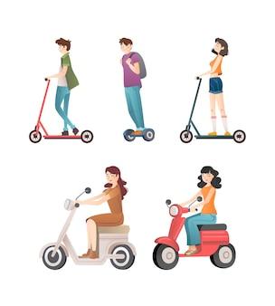 Groep mensen die verschillende elektrische transportmiddelen besturen