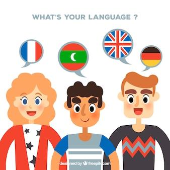 Groep mensen die verschillende talen spreken met een plat ontwerp