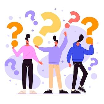 Groep mensen die vragen stellen