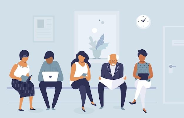 Groep mensen die wachten op sollicitatiegesprek op kantoor, wachtrij van mannen en vrouwen, vlak karakterontwerp, vectorillustratie