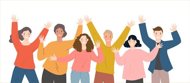 Groep mensen die zich verenigen