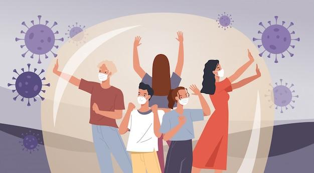 Groep mensen dragen gezichtsmaskers. menselijke bescherming tegen coronavirus. preventieve maatregelen tegen virussen. illustratie in een vlakke stijl