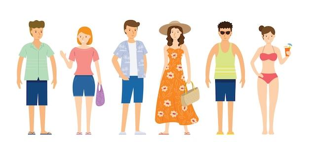 Groep mensen dragen zomerkleding, strand concept Premium Vector