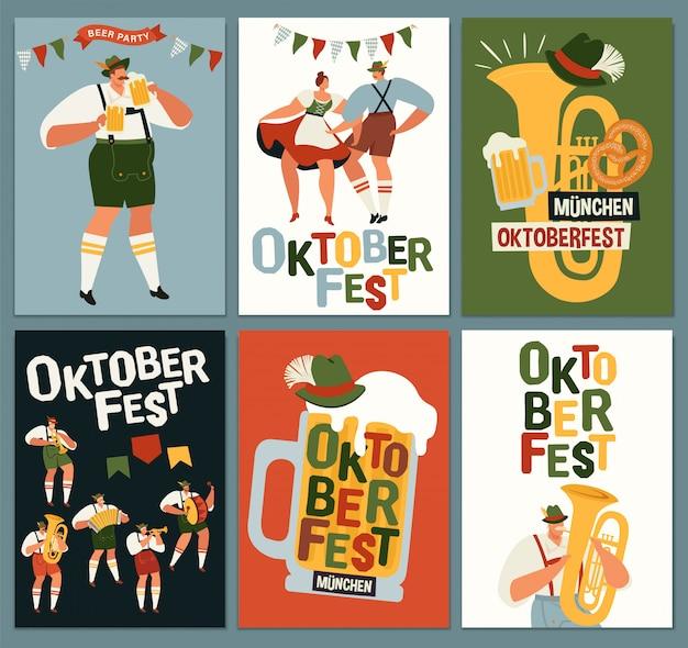 Groep mensen drinken bier oktoberfest feestviering.