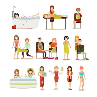 Groep mensen genieten van spa procedures platte set