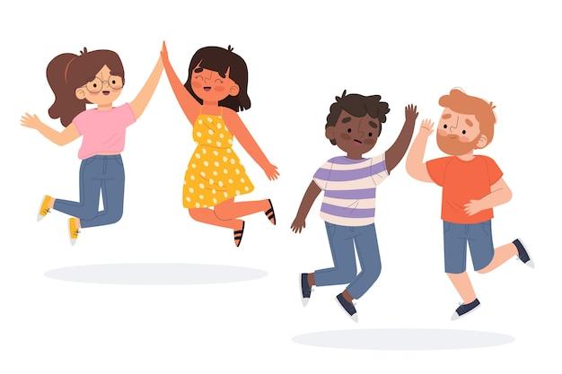 Groep mensen geven high five
