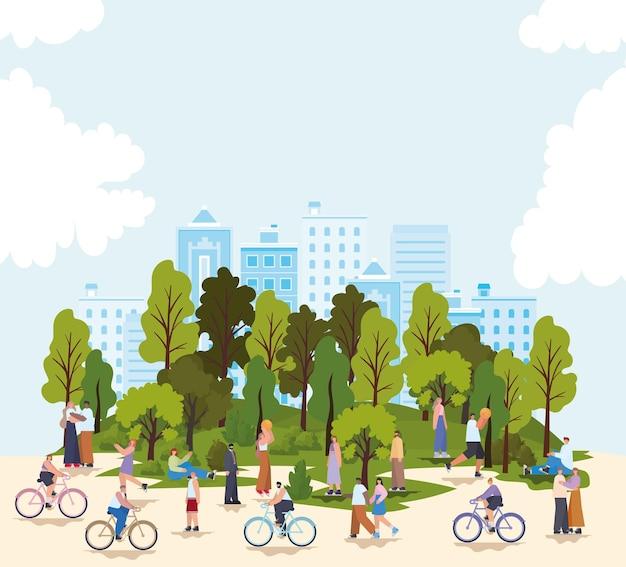 Groep mensen in een park en een blauwe hemel