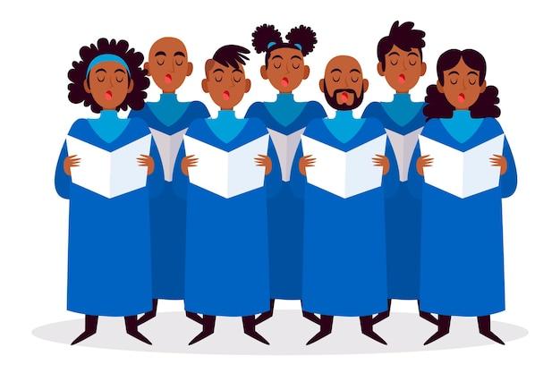 Groep mensen in geïllustreerd gospelkoor
