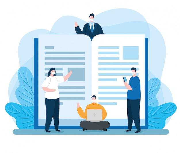 Groep mensen in het onderwijs online met laptop en boek illustratie ontwerp