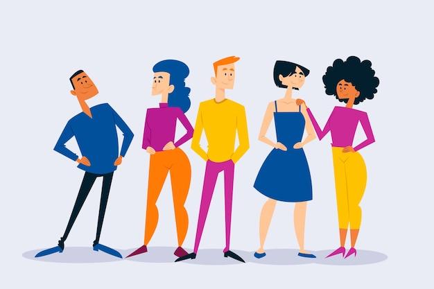 Groep mensen in kleurrijke outfits